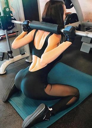 Супер хит🖤черный спортивный комбинезон,фитнес-комбез с сеткой для йоги, танцев, полотен