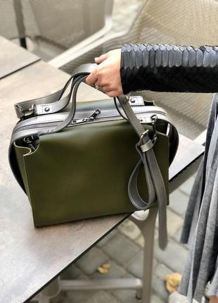 Актуальная сумка 2в1 комплект зеленая хаки оливка женская вместительная + клатч кроссбоди
