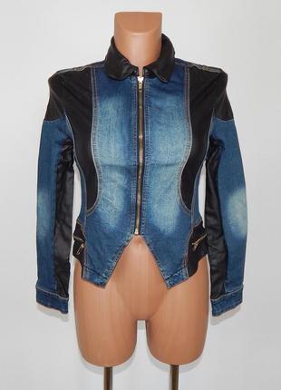 Джинсовый пиджак со вставками кожзама