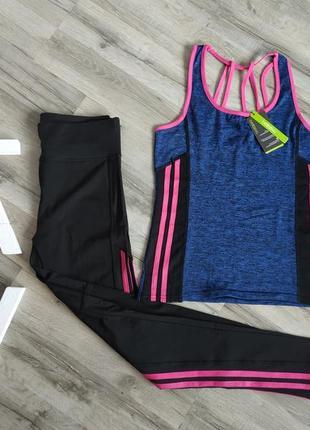 Фитнес костюм, набор, лосины + майка для фитнеса, йоги, танцев