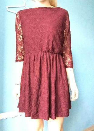 Платье кружево цвета марсала, винного цвета бордо платье тюльпан