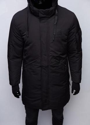 Куртка мужская удлиненная зимняя givenchy chs soft shell 973 черная
