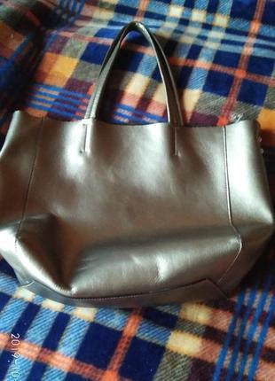 Шикарна срібна шкіряна сумка