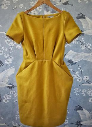 Шерстяное мини платье cos шафранового цвета