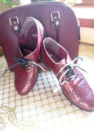 Стильные туфли броги фирмы h&m 37р