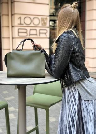 Актуальная сумка 2в1 комплект зеленая хаки оливка женская вместительная + клатч кроссбоди2 фото