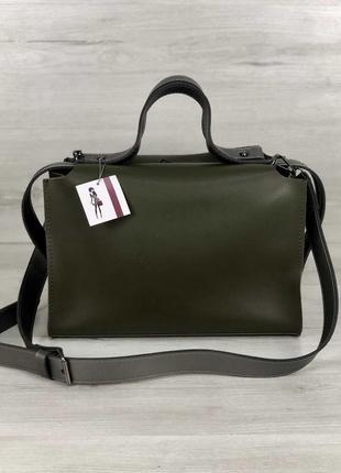 Актуальная сумка 2в1 комплект зеленая хаки оливка женская вместительная + клатч кроссбоди3 фото