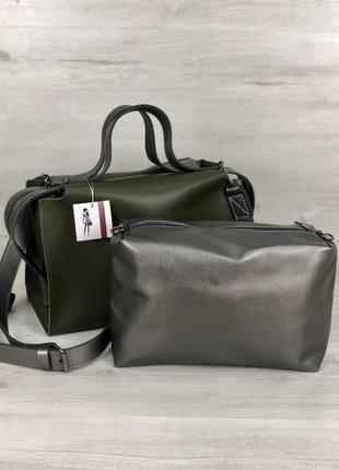 Актуальная сумка 2в1 комплект зеленая хаки оливка женская вместительная + клатч кроссбоди4 фото