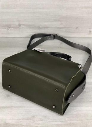 Актуальная сумка 2в1 комплект зеленая хаки оливка женская вместительная + клатч кроссбоди5 фото