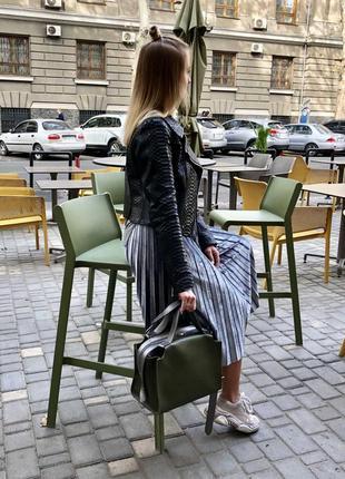 Актуальная сумка 2в1 комплект зеленая хаки оливка женская вместительная + клатч кроссбоди6 фото