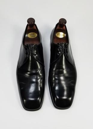 Prada made in italy оригинал кожаные туфли  черного цвета размер 43 дерби на стопу 28 см