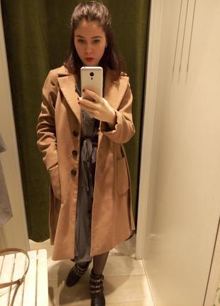 Пальто пальтишко коричневое горчичное миди средняя длина reserved  размер с s с мехом2