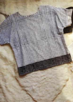 Белая футболка блуза в черную клетку полоску оверсайз батал большой размер разноцветная