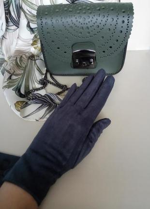 Замшевые сенсорные перчатки темно-серые