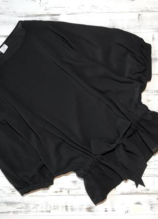Чёрная шёлковая блуза с поясом alba moda