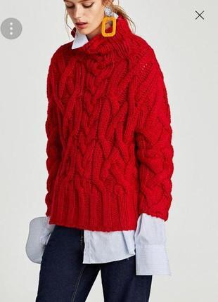 Кофта объемной вязки оверсайз свитер zara