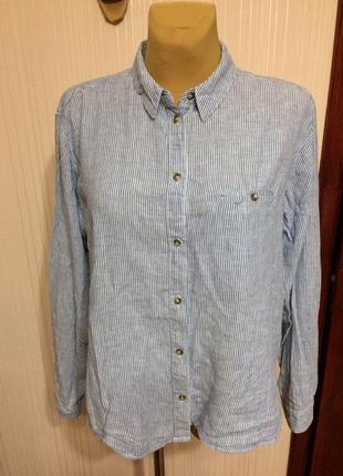 Льняная рубашка втрендовую полоску