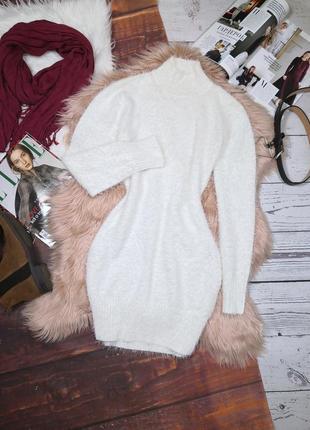 Тёплое платье свитер травка под горло