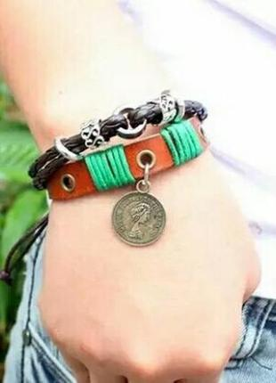 Стильный плетёный кожаный многослойный браслет в стиле пиратов карибского моря
