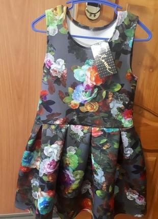 Платье в цветочек, неопрен