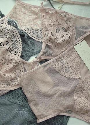 Новый розовый, пудровый  ажурный комплект белья с кружевом
