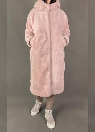 Шуба длинная меховое пальто бойфренд с капюшоном  эко мех
