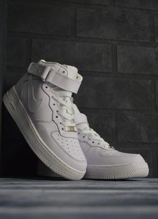 Шикарные женские кроссовки nike air force 1 high высокие белые 😃 (весна лето осень)
