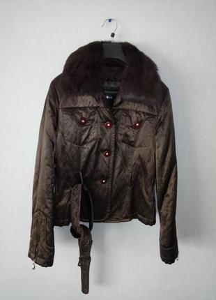 Куртка деми утепленная  с натуральным мехом