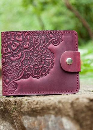 Маленький женский кожаный кошелек марсала бордо с цветочным узором