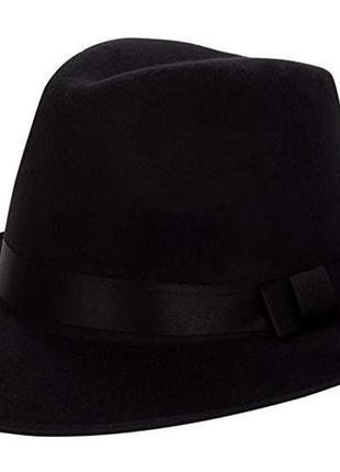 Чёрная фетровая шерстяная шляпа из широкими полями