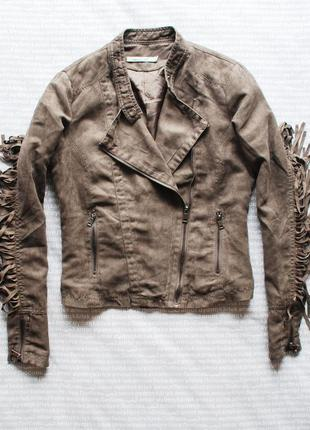 Косуха куртка замша бежевая коричневая с бахромой ковбойская купить цена