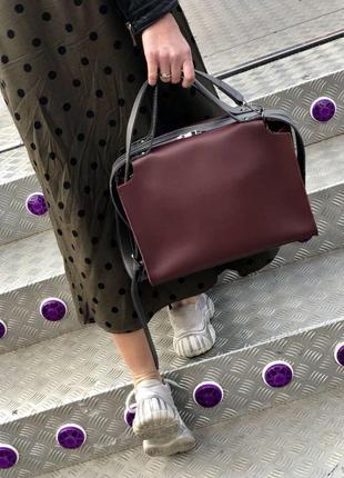 Бордовая стильная молодежная сумка средняя. 4 цвета