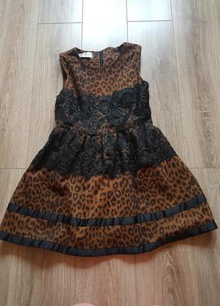 Леопардовое платье с коротким рукавом