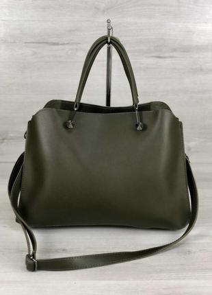 Хаки зеленая оливковая стильная молодежная сумка средняя. 6 цветов
