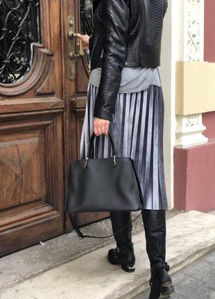 Черная стильная молодежная сумка средняя. 6 цветов