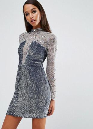 Asos розшита бісером та паєтками срібна сукня