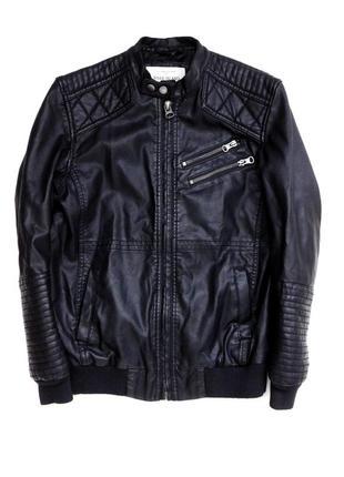 Байкерская куртка кожзам эко кожа от river island
