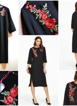 Трендовое стильное черное платье с вышивкой цветы