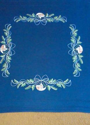 Скатерть новогодняя синяя 78х78
