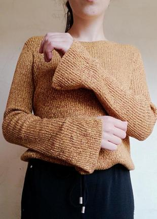 Меланжевая кофта горчичный свитерв рубчик с разрезами джемпер h&m пуловер