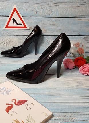 Черные лаковые туфли лодочки лакированные туфельки pleaser р. 39 (6)