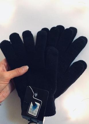 Набор из двух пар черных женских перчаток для смартфона с сенсорными пальцами