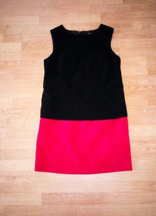 Платье трапеция чёрное красное миди свободное оверсайз marks& spenser