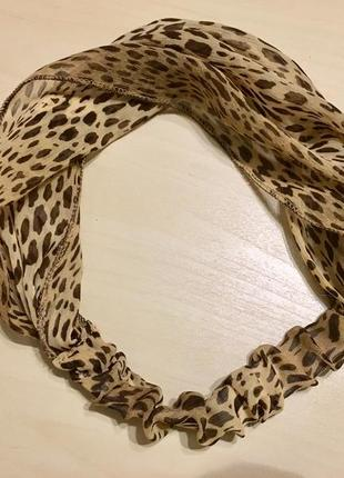 Шифоновая повязка на голову леопардового окраса