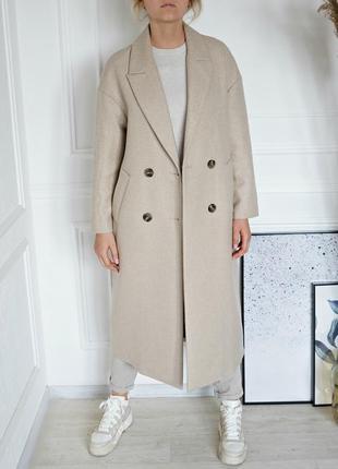 Шерстяное пальто  без подплечников mango