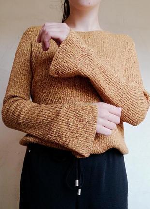 Горчичная кофта свитер в рубчик джемпер пуловер с розрезами h&m меланж