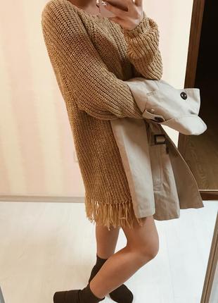 Удлинённый свитер h&m с бахромой