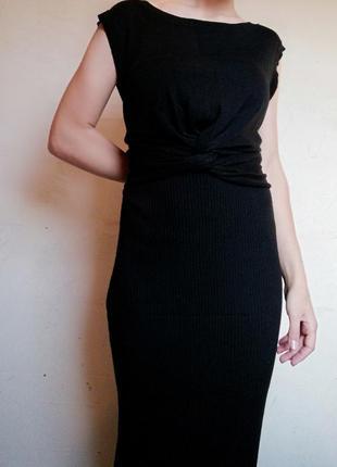 Платье макси в рубчик avant premiere by manor с переплетом спереди вузол на запах