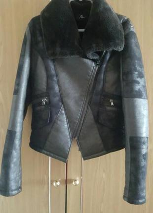 Кожаная куртка дубльонка