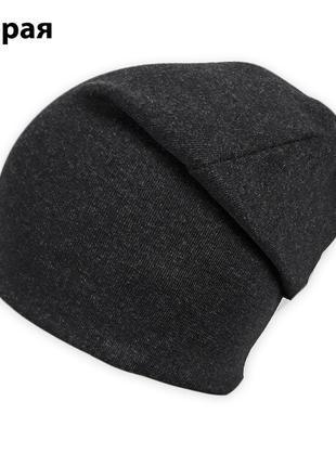 Двойная трикотажная шапка бини меланж ог. 50-60см